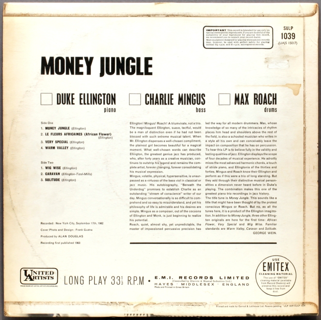 Elington records Money Jungle, 1962