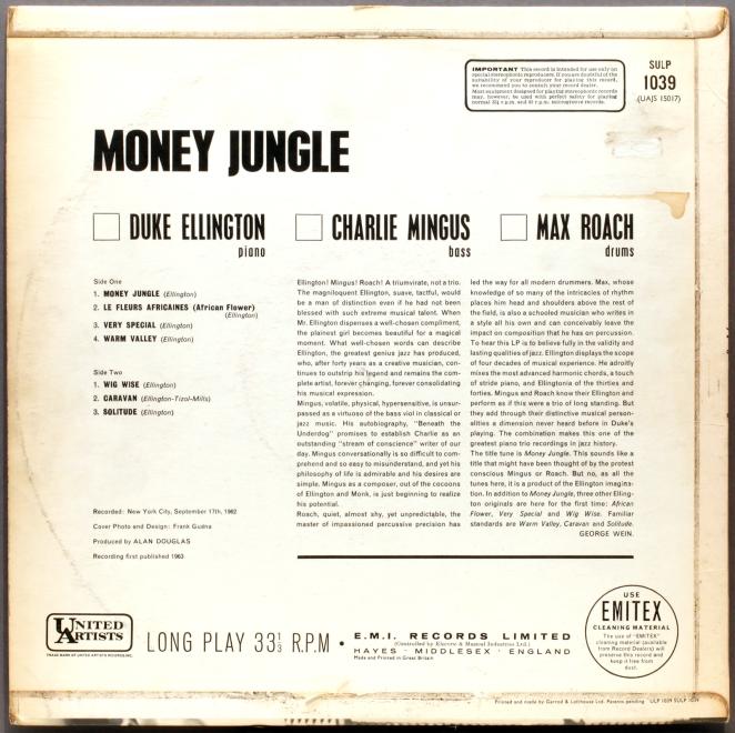 Elington records Money Jungle, 1962